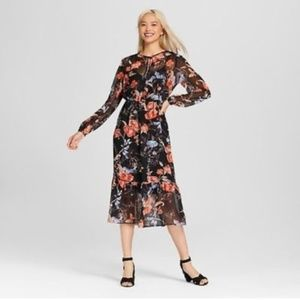 NWT WHO WHAT WEAR-Winter Bloom Sheer floral dress